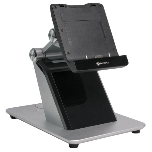 Docking station for the stationary use of the Colormetrics C1000 mPOS, tablet connection pins visible